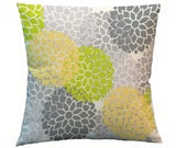 """Lime Flower Throw Pillow Cover - 14"""" zipper enclosed - Coordinates with Lime Butter Bedding sets and decor"""