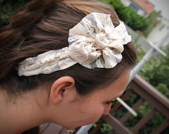 Ivory Lace Flower Headband