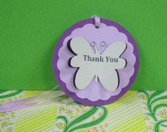 Handmade Purple Violet Butterfly Thank You Tag