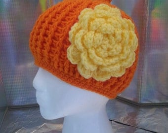 Hand Made Crochet Girls Orange and Yellow Hat with flower-Teen-Adults-Cap-Beanie