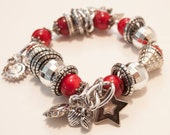 Bamboo coral Bracelet 7.5 inches, stretch coral bracelet  with aluminum, acrylic and ceramic
