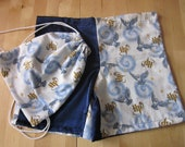 Harry Potter pajama shorts with matching drawstring bag (size 5/6)