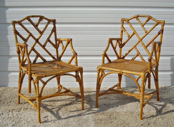Vintage Mcguire Chairs Items similar to Vintage Chippendale Bamboo Rattan Arm Chairs McGuire ...