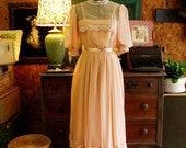 So Sweet Creamy Peach Pink Chiffon Sheer Lace 1940's 50's Dress with Short Sleeves and Fitted Waist Size S M