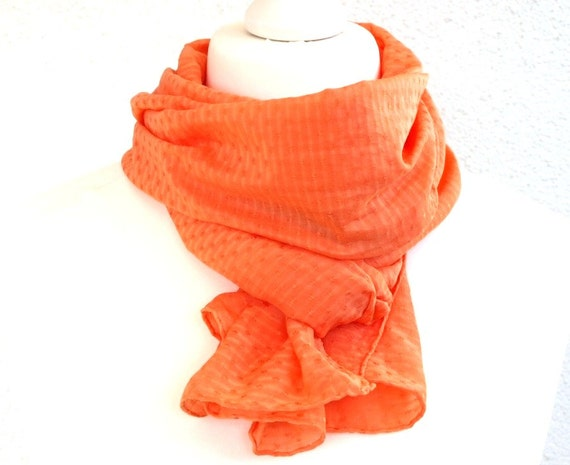 Orange Silk Cotton Scarf for Head, Neck or Shoulders