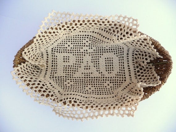 Cloth Crochet for Bread Serving Basket in Natural Beige Doily - RESERVED