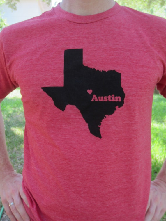 Austin texas screenprinted shirt by craftsbycasaverde on etsy for Austin t shirt printing