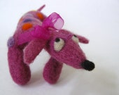 Pink Dachshund - Needle Felted - Art Doll - Home Decoration