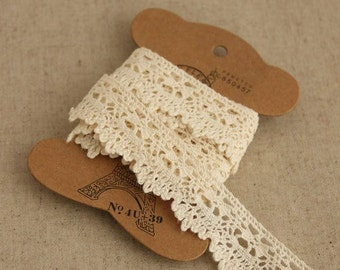 "4 yards Beige Cotton Lace Trim 2.2cm (0.87"") wide L002"