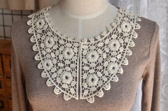 Beige Floral Crochet Lace Collar Dress Applique, Sewing Supplies C637