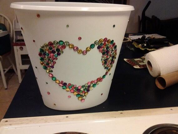 Items similar to rhinestone covered wastebasket on etsy - Covered wastebasket ...