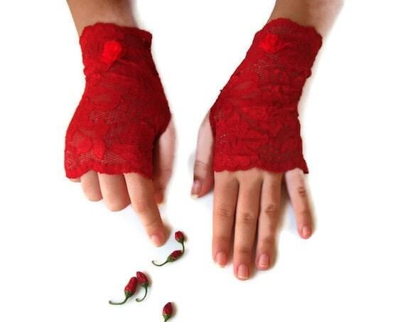 Large size short  Dark red Lace fingerless gloves