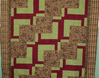 Green Throw Quilt, Quiltsy Handmade, Brown Green Maroon Quilt, Lap Quilt, Art Quilt, Handmade Quilt, Pieced Quilt, Contemporary Quilt