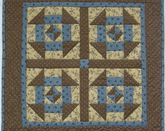 Americana Quilted Wall Hanging Table Topper, Churn Dash Blue Brown Quilt, Civil War Table Topper, Quiltsy Handmade, Blue Brown Wall Hanging