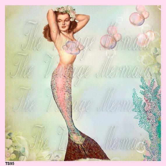 Vintage Bathing Beauty Mermaid Fabric Block 8x8