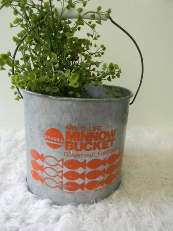 vintage orange minnow galvanized bucket