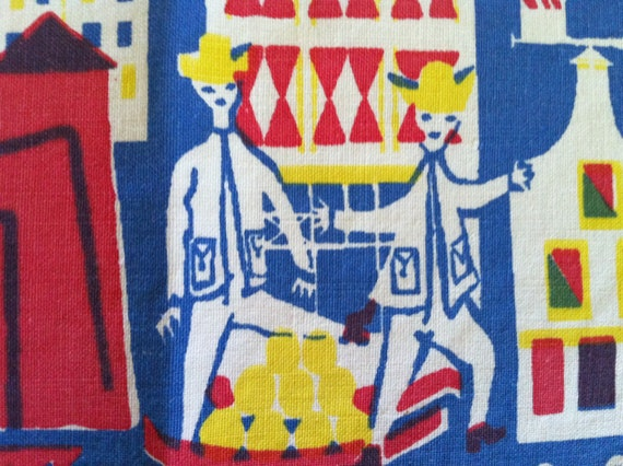 Mint Vintage MCM Dutch Textile Placemat People Fish Buildings