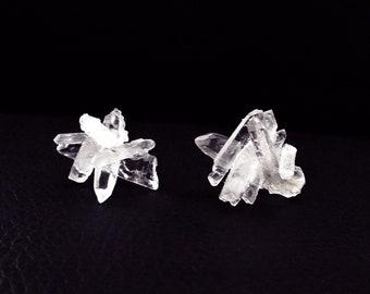 Quartz crystal earrings, bohemian earrings, crystal stud earrings, boho wedding earrings, gemstone earrings