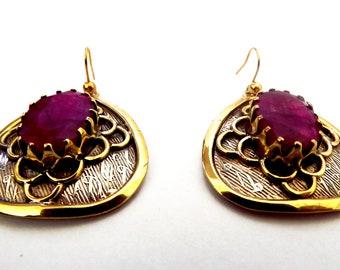 Ruby earrings, genuine cherry ruby, gold earrings, sterling silver gold plated victorian earrings, gemstone earrings