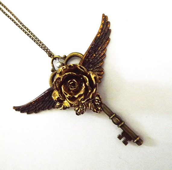 Victorian key necklace, gold rose and wing necklace, vintage key pendant, gothic necklace