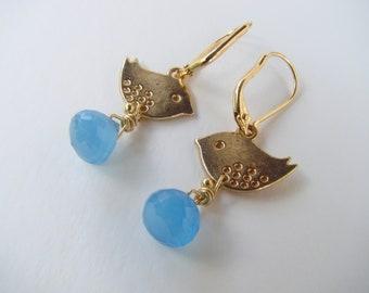 Sky blue chalcedony earrings, dangle earrings, tt team, bird earrings, gold jewelry, handcrafted jewelry, lovely, fsb
