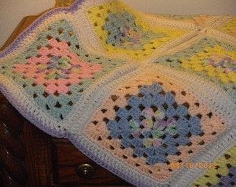 Granny Square Pastel Baby Blanket-ooak - See Shop Announcement for Coupon Code