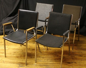 Vintage Set of 4 Stacker With Arms Office Chairs