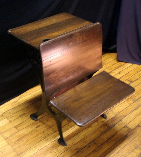 Antique Vintage Student School Wood Metal Steel Desk
