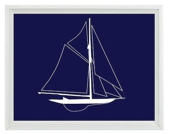 Nautical Beach Sailboat Wall Art Print  - Navy Blue White - Nursery Children Room Home Decor