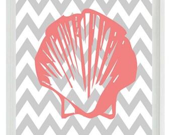 Seashell Nautical Chevron Sea Creature Art Print Set - Pink Gray Nursery Girl - Shell Wall Art Home Decor