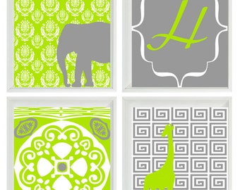 Elephant Giraffe Initial Personalized Safari Nursery Wall Art Prints - Gray Green - Children Room Home Decor