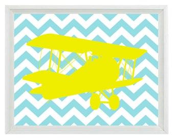 Vintage Airplane Nursery Chevron Art Print - Boy Room Biplane Aqua Yellow - Wall Art Home Decor  Print