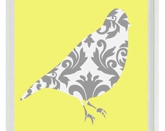 Bird Wall Art Print - Yellow Gray Decor Damask  - Modern Nursery Children Girl Room Home Decor  Print