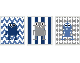 Robot Art Print Set - Boy Room Nursery Chevron Stripes - Blue Gray - Baby Boy Kid Wall Art Children Room Decor   Prints