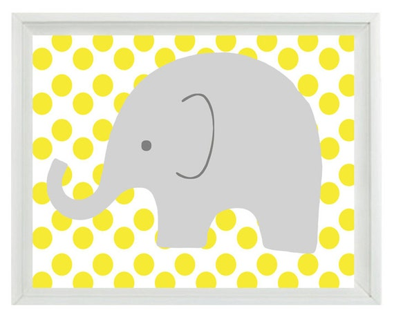 Elephant Nursery Wall Art Print Yellow Gray Decor Polka Dots