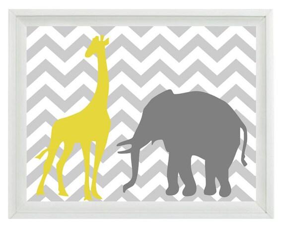 Elephant Giraffe Chevron Nursery Wall Art Print Yellow Gray