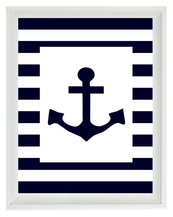 Blue Anchor Wall Decor : Nautical nursery anchor wall art print navy blue white