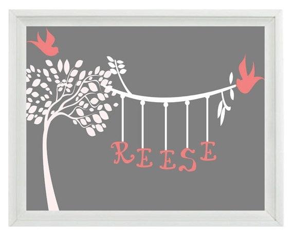 tree custom name nursery wall art print personalized birds. Black Bedroom Furniture Sets. Home Design Ideas