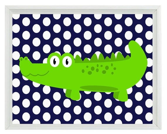 Alligator nursery wall art print navy blue lime green decor for Lime green wall art