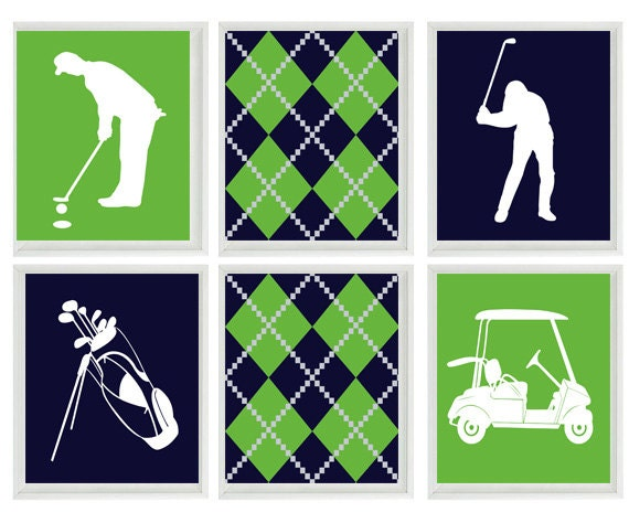 Golf Wall Art Print   Navy Blue Green White Argyle Preppy Art   Golf Clubs  Cart   Gift Golfer Boy Man Room Dorm Home Decor