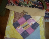 Repurposed Vintage Quilt Square & Brooch make this Genuine Leather Handmade Purse