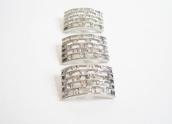 Three Vintage Silver Metal Curved Rectangular Buttons With Open Checkerboard and Rhinestone Design - Set of 3