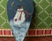 Heart Shaped Lapel Pin Hand Painted with Snowman in Snow