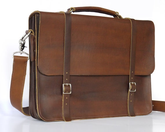 """Brown Leather Messenger/Laptop Bag 15"""" Male/Female"""