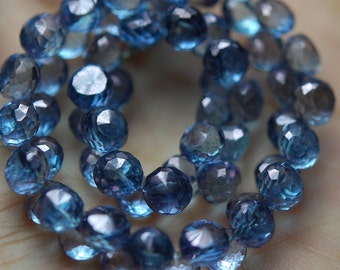8 Inches, Mystic TAZANITE BLUE Faceted Onion Shape Briolettes 6mm