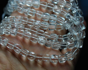 8 Inch Long Strand Best Quality Rock Crystal Quartz  Faceted 3D Cube shape ,Size 5-6mm
