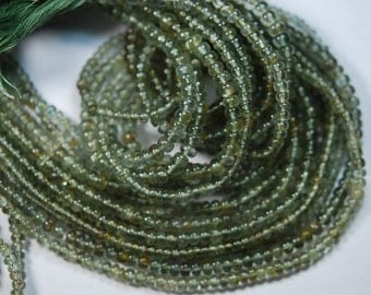 14 Inch Strand,SUPERB-Moss Aquamarine Smooth Polished Rondells Size,4-4.5mm