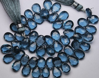 8 Inch Strand,Superb-Finest Quality, London Blue Quartz Faceted Pear Shape Briolettes, 7x10mm size,