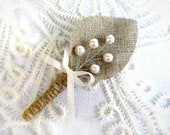Burlap Groom's Boutonniere for Wedding Rustic  with white pearls