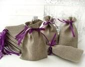 "SET OF 75 Eco Rustic Linen Wedding Favor Bag or Gift Bag 4x6"""